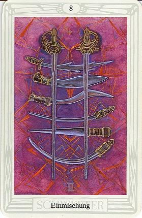 Tarotkarte Acht Der Schwerter Einmischung