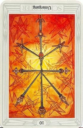 Karte Des Untergangs.Tarotkarte Zehn Der Schwerter Untergang