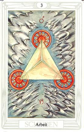 Tarotkarte Drei Der Scheiben Arbeit